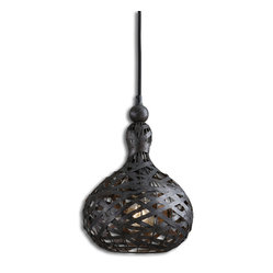 Uttermost - Alita Industrial 1-Light Mini Pendant - Does industrial chic ring a bell? It will when this bell-shaped mini pendant lights the way in your hallway or kitchen workspace. Strips of aged black metal are wrapped every-which-way around a rustic cage frame for a dramatic light show.