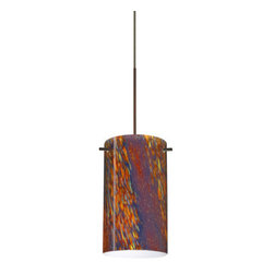 Besa Lighting - Besa Lighting RXP-4404CE Stilo 1 Light Halogen Track Pendant - Stilo 7 is a classic open-ended cylinder of handcrafted glass, a shape that will stand the test of time. Our Ceylon glass is an inspiring varicolored glass with a look reminiscent to natural quartz, with a glossy polished surface. Blues and reds dominate when unlit, but turn the light on and the earth-tones take over. This decor is created by rolling molten glass in small bits of various colors called frit along with various glass powders. The result is a multi-layered blown glass, where frit color is nestled between an opal inner layer and a clear matte outer layer. This blown glass is handcrafted by a skilled artisan, utilizing century-old techniques passed down from generation to generation. Each piece of this decor has its own unique artistic nature that can be individually appreciated. The 12V cord pendant fixture is equipped with a 10' coaxial cordset with teflon jacket, quick connect jack and a Besa Rail Adapter.Features: