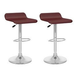 Sonax - Sonax CorLiving Curved Adjustable Bar Stool in Brown Leatherette (Set of 2) - Sonax - Bar Stools - B832VPD - Style your home with this inviting 2 piece durable Warm Brown barstool set from our newest CorLiving™ Collection. This barstool pair is the perfect way to relax indoors. Height adjustable and easy to wipe clean Warm Brown leatherette is accented with a sturdy chromed gas lift and base.  Simple stitched edges on the seat complete the contemporary design. Featured in Warm Brown this 2 piece set is a great way to make the most of your indoor bar space.