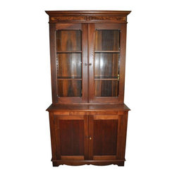 Pre-owned 1800s Refinished Dining Room Buffet - An antique dining room buffet, that dates back to the late 1800s. This piece has been refinished and looks amazing, in a warm glowing wood with glass fronted doors on the top piece. It will provide a ton of storage for fine china and stemware, and is in excellent condition.