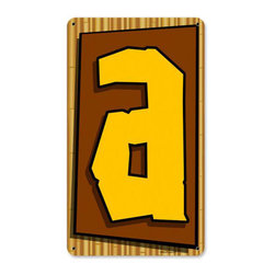 Tiki Letter A Metal Sign Wall Decor 8 x 14 - Tiki Letter A Metal Sign Wall Decor From the Retro Planet licensed collection, this Tiki Letter A metal sign measures 8 inches by 14 inches and weighs in at 1 lb(s). This metal sign is hand made in the USA using heavy gauge american steel and a process known as sublimation, where the image is baked into a powder coating for a durable and long lasting finish. This metal sign is drilled and riveted for easy hanging.