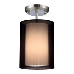 One Light Brushed Nickel Organza Black Shade Drum Shade Semi-Flush Mount - For those who want a contemporary look with a traditional glow, look no further than this semi-flush. The inner shade is an opaque oval shade that emanates a soft glow while the outer shade is an oval, black organza shade. This fixture is finished in brushed nickel, and is sure to be an elegant addition to any room.
