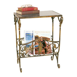 Welcome Home Accents - Antiqued Gold with Black Granite Top Magazine Rack Table - Perfect for a study, living room or bedroom, this classically designed Magazine Rack with snack table features antique gold metal scroll work with black granite top. The sturdy metal frame in distressed patina fits well with any decor. Assembly required. Wipe with a dry cloth.