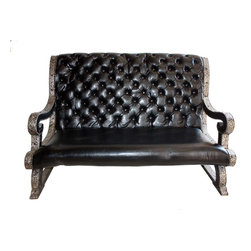 Badia Design Inc. - Designer Moroccan Black Leather Bench - This is a unique handmade leather bench with a metal and wood frame that will seat two to three people comfortably. This exquisite and contemporary style leather bench was handcrafted by our skilled artisans in Morocco.