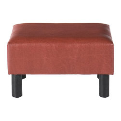 Holly & Martin - Gerard Foot Stool, Red Leather - Add a wonderful accent to your home with a fashionable foot stool. Dressed with an eye catching faux red leather, this functional piece will definitely be a fun addition to any room.