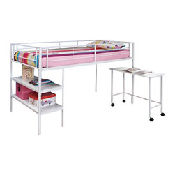 Walker Edison - Walker Edison Twin Loft Bed with Desk and Shelves in White - Walker Edison - Bunk Beds - BTLD46SPWH - Style and function combine to give this metal loft bed a striking appearance. Constructed from durable metal framing this bed is sleek modern and sturdy. Great for space saving needs this bed features open shelving and a desk that easily stows under the loft. Bed also includes full length guardrails and an integrated ladder for optimal safety.