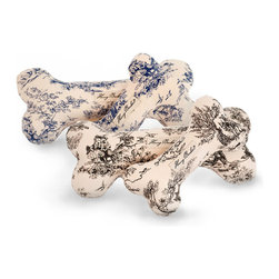 """Dog Toile Canvas Bone - Blue - 11"""" - Whimsically elegant for discerning dogs, the Toile Canvas Bone in Blue makes use of an elegant pattern to give a light, tailored look to an iconic shape that denotes luxury for pets. The adorable print dogs in eighteenth-century country garb, engaging in aristocratic pastimes provides a surprising smile when you pick up the bone for a game of fetch."""