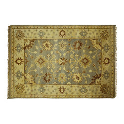 Manhattan Rugs - Antiqued Oushak 4' X 6' Hand Knotted Wool Maya Blue Turkish Geometric Rug H5575 - Oushak rugs originated in the small town of Oushak in west central Anatolia, roughly 100 miles south of the city of Istanbul in Turkey. Oushak has produced some of the most decorative Persian influenced rugs of all times. Oushak has been a production center of Turkish rugs since the 15th century. In the late 15th century the 'design revolution' took place. Before, producing carpets was part of the nomad culture, meeting people's daily needs, but for the first time the works of designing and weaving rugs were split in two. These Turkish rugs began to be produced commercially. From the 16th up to the 18th century the most famous manufacturers of ottoman times worked in Oushak. A special heirloom wash produces the subtle color variations that give rugs their distinctive antique look.