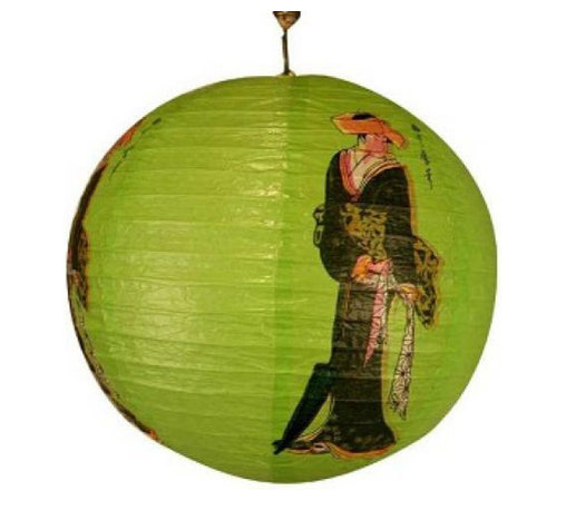 Oriental-Decor - Green Geisha Lantern - Bring that geisha girl to your next party with this beautiful green lantern. This instant pop of color makes decorating a snap. Lanterns don't deflate like balloons so you can prep for the party hours ahead.