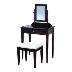 "Adarn Inc - Sleek Contemporary Vanity Set Stool Swivel Mirror Fabric Seat Make up Table - This sleek contemporary vanity set will be a stunning addition to your bedroom or dressing area. Create a serene place to prepare for your day, or an energizing spot to dress for a big night out. The vanity has clean lines, with square tapered legs, and a center drawer to store brushes and frequently used items. A vertical swivel mirror will add light to the room, while adding another convenient touch to help you get dressed. Finished in a rich dark wood tone, this vanity set will add a sophisticated look to your room, accented with a simple silver tone knob. The matching stool features sleek wooden legs, below the comfortable padded fabric covered seat. Add this contemporary vanity set to your home for the ultimate in luxury, and a stunning completion to your room's ensemble.Vanity:28""W x 16""D x 50""H;   Stool:18""W x 14""D x 17""H"