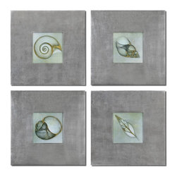Uttermost - Uttermost 41372  Neptunes Garden Framed Art Set/4 - Prints are outlined with metallic accents. frames feature a champagne silver leaf base with a light brown glaze.