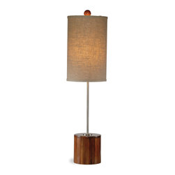 Bassett Mirror - Bassett Mirror Mellon Table Lamp - Brighten your space with the Mellon Table Lamp. Featuring chrome hardware, a dark bamboo base and finial, and a beige cylinder shade, this lamp is an innovative complement to midcentry decor. Requires 60 watts or less, bulbs not included.