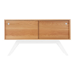 Eastvold Furniture - Elko Credenza Small, White Oak, White Base - This use-anywhere credenza takes midcentury design into the new millenium with sleek lines, ample storage and functionality in a range of colors to fit any taste and decor. Adjustable shelves and wire access hide behind the smooth sliding doors.