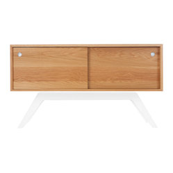 Elko Credenza Small, White Oak, White Base