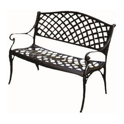 Kontiki - Kontiki Porch Seating - Cast Aluminum Benches - The Kontiki Antique Bronze Cast Aluminum Patio Bench offers intimate seating and timeless style for your outdoor living space. Perfect for relaxing with your loved one in the fresh air, or enjoying a morning coffee in the garden, this bench will open up your outdoor possibilities.   Built for year-round outdoor use, the Antique Bronze Cast Aluminum Patio Bench provides enduring style. Constructed from incredibly durable cast aluminum, which is rust and mold resistant, this bench is designed to withstand the elements from one season to the next. Suitable for use in both residential and commercial settings, this bench is the perfect accent piece for a variety of outdoor locations. [1.0 each/each] - Antique Bronze Cast Aluminum Patio Bench