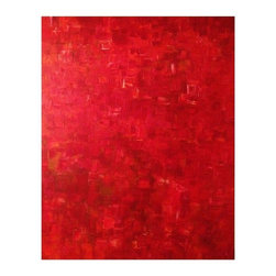 Used Red Abstract Acrylic Painting On Canvas - Vibrant and bold, this large abstract acrylic work will create a stunning focal point in your space. This painting was skillfully executed in various tints and tones of red, orange, and burgundy to create subtle differences in color and shape. This piece is unframed and signed S. Thompson 08. It can be hung either horizontally or vertically. There are spots of paint on the stretcher edge.