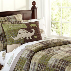 Madras Quilt - For dinosaur fans, this quilted bedding is stylish, fun and classic at the same time. Soothing sage and brown can blend with existing color palettes in the room. It can also be personalized.