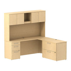 "BBF - Bush 300 Series 72"" L-Shape Desk with 4-Door Hutch in Natural Maple - Bush - Commercial Grade Office - 300S069AC - Functional beauty plus sophisticated styling comes standard with the BBF Natural Maple 300 Series 72""W x 70""D L Desk (B/B/F) with 48""W Return, 72""W Tall Storage and Lateral File. Desk's roomy surface offers extra workspace yet still fits in tight places. The 48""W Return lets you spread out comfortably. Three drawers (B/B/F) hold all papers, documents or office supplies. Tall Overhead Storage helps keep desk areas clear and has an open center section for large books or oversize manuals. Height matches other 300 Series Tall Overhead Storage Units for side-by-side configurations. Two door-enclosed compartments hold supplies, electronics or personal items."