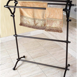 None - Pedestal Oil Rubbed Bronze Bath Towel Rack - Towels will always be in reach with this pedestal Y-type bath towel rack. Constructed of solid steel for a rust-free and durable performance,the oil rubbed bronze towel rack has multiple rods to hang bath and hand towels from.