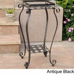 International Caravan - International Caravan Mandalay Square Iron Plant Stand - Add a touch of classic elegance to your outdoor patio furnishings with this square plant stand. This plant stand features a striking 'Mandalay' two-tier design and is available is three beautiful finish options.