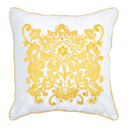 Rizzy Rugs - Rizzy Home Yellow 18 Inch x 18 Inch Pillow Cover with Hidden Zipper - - Pillow Cover with Hidden Zipper  - Poly Slub Fabric  - Embroidered and Welt Details  - Primary Color - Yellow  - Secondary Color - White  -  Hand Wash in Cold Water. Lay Flat to Dry. Rizzy Rugs - T03893