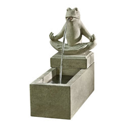 Campania - Zen Plinth Garden Water Fountain, Brown Stone - The Zen Plinth Fountain is an adorably fun and endearing fountain. Featuring a Zen Frog in meditating pose, this calming fountain is sure to add a peaceful feel to your garden setting. Add this fountain to your home or garden today and enjoy the soothing sounds of water flowing from this beautiful fountain.