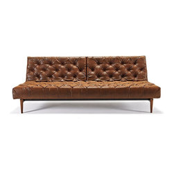 """Innovation USA - """"Innovation"""" Oldschool Chesterfield Vintage Brown Sofa Be... - Surprise your family with the purchase of the """"Innovation USA"""" Oldschool Chesterfield Vintage Brown with Dark Wood Legs. Vintage brown fabric features an aged leather look, with eco-friendly engineering (80/20 vinyl viscose mix). This sofa legs are made of wood in walnut finish."""