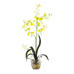Nearly Natural - Nearly Natural Oncidium Liquid Illusion Silk Orchid Arrangement in Yellow - The latest trend in silk arrangements, liquid illusion both enhances and compliments the unique and exotic beauty of the Oncidium. Contemporary yet sophisticated, this arrangement is an eye catcher that will last the test of time. This 30 inch tall piece is displayed in a clear glass vase with artificial water and river rocks.
