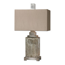 Uttermost - Canino Mercury Glass Table Lamp - Sleek and sexy — this table lamp is full of old-world glamour. It features a ribbed mercury glass base and a rectangular silken bronze shade. From Art Deco to traditional decor, this striking lamp is guaranteed to steal the spotlight.