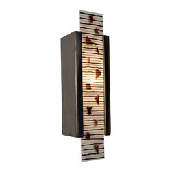 A19 - Zen Garden Wall Sconce White Gloss and Multi Seaweed - A rectangular ceramic base supports a tall fused glass panel including alternating horizontal stripes studded with pieces of colored glass. This wall washer sconce features up and down light as well as light emitting from the artful glass front.