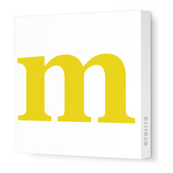 "Avalisa - Letter - Lower Case 'm'  Stretched Wall Art, 12"" x 12"", Dark Yellow - Spell it out loud. These lowercase letters on stretched canvas would look wonderful in a nursery touting your little one's name, but don't stop there; they could work most anywhere in the home you'd like to add some playful text to the walls. Mix and match colors for a truly fun feel or stick to one color for a more uniform look."