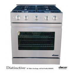 """Dacor - Distinctive DR30GIFSLPH 30"""" Slide-In Gas Range with Liquid Propane  High Altitud - Dacor39s Three-Part Convection System with fan air baffle and convection filter ensures precise oven temperature control superior heat distribution and zero flavor transfer And two 14 Continuous Platform Grates give you ample room for oversized pots ..."""