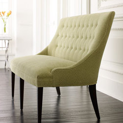 """Button-Back Settee - Soft green upholstery will have you dreaming of beautiful spring days.  This """"Button-Back Settee"""" is handcrafted of maple wood with an oiled """"java"""" finish and is eight-way, hand-tied to ensure lasting quality.53.5""""L x 32""""D x 38.5""""H"""