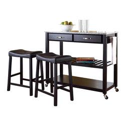 Crosley Furniture - Crosley Solid Granite Top Kitchen Cart/Island with Stools in Black - Crosley Furniture - Kitchen Carts - KF300534BK