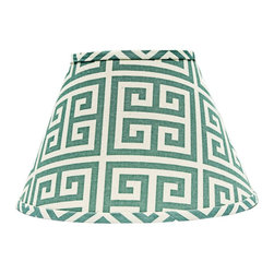 "Lamps Plus - Contemporary Aqua Greek Key Empire Lamp Shade 10x18x13 (Spider) - This patterned lamp shade features an aqua Greek key design and a chrome spider fitter for a hint of sparkle. A delightful accent shade to refresh a floor or table lamp. The correct size harp is included free with this purchase. Crafted in the Indiana workshops of A'Homestead Shoppe. Empire hardback shade. Aqua Greek key pattern. Made in USA. Cotton exterior. Chrome spider fitter. Unlined. Correct size harp included. 10"" across the top. 18"" across the bottom. 13"" on the slant.  Empire hardback shade.  Aqua Greek key pattern.  Made in USA.  Cotton exterior.  Chrome spider fitter.  Unlined.  Correct size harp included.  10"" across the top.  18"" across the bottom.  13"" on the slant."