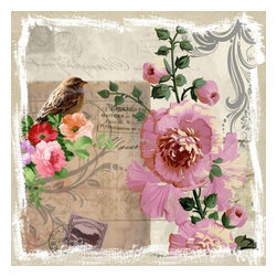 Yosemite Home Decor - Sparrow and Hollyhocks Art - A beautiful, little sparrow perched among flowers in colors of apricot, raspberry, and pink faces a pink hollyhock with butter cream highlights and green leaves. Printed on aged linen and accented with vine flourishes, vintage postage stamps, and script.