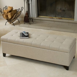 Christopher Knight Home - Christopher Knight Home Mission Beige Tufted Fabric Storage Ottoman Bench - Use a trunk with built-in storage to tuck away blankets or toys.