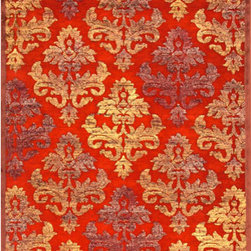 Jaipur - Fables Red and Yellow Rectangular: 5 Ft. x 7 Ft. 6 In. Rug - - Every design tells a story with the Fables Collection. This broad range, crafted in machine-tufted viscose & ultra-soft chenille, brings any space to life with its fashion-forward color palettes. With options suited to many styles and aesthetics, Fables brings together a diverse collection of patterns ranging from sophisticated transitional to boldly scaled contemporary  - Cleaning and Care: Vacuum regularly WITHOUT the beater bar turned on (or on highest pile setting). Spot clean or shampoo by only using a mild detergent. Dry fibers quickly to prevent microbial growth. Avoid direct sunlight prevent fading. Use professional cleaning agents only  - Companion Item: Rug Pad  - Pile Height: 0.25  - Construction: Machine Made  - It is Sustainable  - Soft Hand  - Lustrous Finish  - Floral  - Transitional Jaipur - RUG101574