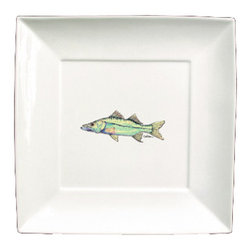 Caroline's Treasures - Fish Snook Ceramic - Plate Square 11.5 - Heavy Square Ceramic Plate 11 1/2 inches.  LEAD FREE, dishwasher and microwave safe.  The plate has been refired over 1600 degrees and the artwork will not fade or crack.
