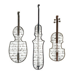 Jazz Mirror Wall Decor - Set of 3 - Present a muted overture in wall decor with this set of three mirrors shaped like stringed instruments.  Constructed of iron and mirror and featuring antiquing over script, these mirrors are perfect for any music lover.