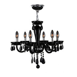 "Worldwide Lighting - Gatsby 6 Light Chrome Finish and Black Blown Glass Chandelier 22"" x 19"" Medium - This stunning 6-light Chandelier only uses the best quality material and workmanship ensuring a beautiful heirloom quality piece. Featuring a radiant chrome finish and blown glass in glossy jet black finish, this elegant chandelier is a work of art in its quality and beauty. Worldwide Lighting Corporation is a privately owned manufacturer of high quality crystal chandeliers, pendants, surface mounts, sconces and custom decorative lighting products for the residential, hospitality and commercial building markets. Our high quality crystals meet all standards of perfection, possessing lead oxide of 30% that is above industry standards and can be seen in prestigious homes, hotels, restaurants, casinos, and churches across the country. Our mission is to enhance your lighting needs with exceptional quality fixtures at a reasonable price."