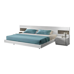 J&M Furniture - J&M Amora White Lacquer Finish Queen Size Platform Bedroom Set - The J&M Amora bedroom set is the perfect piece for adding a touch of today's modern design to your bedroom. Each piece comes in a stunning high gloss white lacquer finish. The bed features a large headboard with natural wood veneer accents on each end. The case goods are crafted from solid wood products making them very durable and have a matching white lacquer finish. The bedroom set shown comes with a queen size bed frame, two nightstands, a dresser, and mirror only. A mattress does NOT come included with the bed.