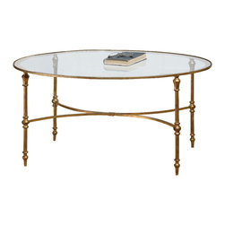 Uttermost - Uttermost Vitya Glass Coffee Table - Vitya Glass Coffee Table by Uttermost A Graceful, Oval Design In Gold Leafed, Forged Iron Under Sturdy, Clear Tempered Glass.