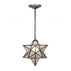 """Meyda Tiffany - 12""""W Moravian Star Seedy Pendant - Grace your home with this timeless ceiling fixture, hand crafted of sparkling Clear Seedy art glass. Dating back to Moravia, hundreds of years ago, the star was used to protect your home and bring good luck to your family. The Meyda Tiffany Moravian Star pendant is suspended from chain and canopy in a Mahogany Bronze hand applied finish."""
