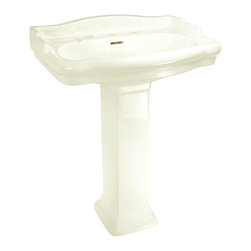 World Imports - English Turn Petite Pedestal Lavatory 8in. Centers, Bisque - Vitreous China