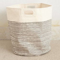 Pencil Stripe Canvas Basket, Gray - A simple striped basket for toys, blankets, linens and more will make all your odd and ends look stylish and organized.