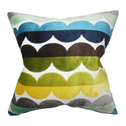 """The Pillow Collection - Xoise Geometric Pillow Bright - This bright and fun throw pillow adds a cozy feel to your interiors. This square pillow features a pop of various colors in a unique geometric pattern. This home accessory is ideal to use in your sofa, couch or seat. Constructed with a combination of 60% polyester and 40% velvet material, this 18"""" pillow is made in the USA. Hidden zipper closure for easy cover removal.  Knife edge finish on all four sides.  Reversible pillow with the same fabric on the back side.  Spot cleaning suggested."""