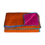 KOKO - King Coverlet, Reversible, Orange/Fuchsia - Bright colors like orange and fuchsia belong together, and here they're perfectly matched with a touch of turquoise. This looks like the kind of quilt that would instantly turn into a family favorite.