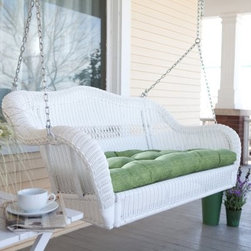 Coral Coast Casco Bay Resin Wicker Porch Swing with Optional Cushion - I've always loved wicker furniture. What's better than a wicker swing? The swing on my patio is one of my favorite spots.
