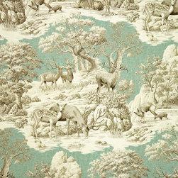 Deer fabric aqua toile nature woodland lodge cabin - A deer fabric. A deer toile fabric in aqua. A nature fabric with a woodland feel. If you need a lodge fabric or cabin fabric this is perfect!